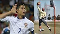 Can Real Madrid star Cristiano Ronaldo dunk? Silly question really!