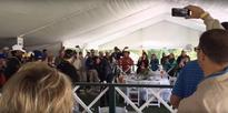Watch: Golfer nails shot from hospitality tent
