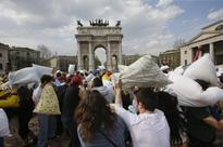 All the wildest scenes from International Pillow Fight Day