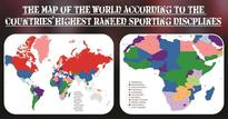 The Map of the World according to strongest sporting disciplines per country