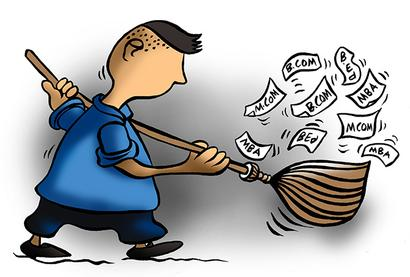Why a BCom MCom MBA wants to be a sweeper
