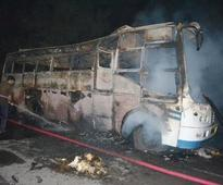 Violent mob in West Bengal torches 20 trucks after cyclist dies in accident with lorry