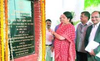 Smriti Irani laying the foundation stone for Engineering Blocks at the IIT, New Delhi