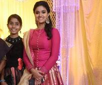 Keerthy Suresh looked pretty in a pink flowy skirt at her sister Revathy's wedding reception in Chennai