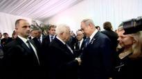 Abbas and Netanyahu handshake at Peres funeral