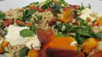 Warm Salad of Barley, Pumpkin, Feta and Spinach