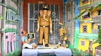 Lord Ganesh in CBI Avatar on Line of Police Fire