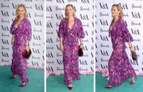Kate Moss tries her hand at the lingerie trend in plunging purple dress