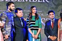 Deepika Padukone and Ranveer Singh with owners of Shri Hari Diagems at Ambience Mall in Gurgaon