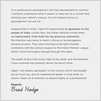 Hodge apologises to Kohli over injury comments