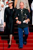 Princess Charlene and Prince Albert of Monaco make rare appearance with...