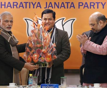 BJP departs from practice, names Sonowal as Assam CM candidate