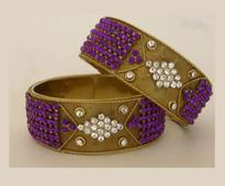 Stone Studded Bangle set in Purple and White