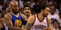 Steven Adams cops kick as Thunder stun Warriors