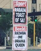 Rabada 'drama queen' headline sparks social media outcry