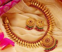 Red Stone Studded Gold Choker Necklace Set