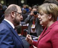 Merkel's conservatives rap her election rival Schulz for eurobonds talk
