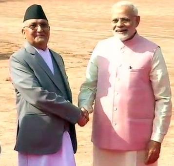 Nepal PM Oli receives ceremonial reception at the Rashtrapati Bhawan