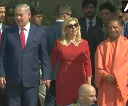 Netanyahu, with wife Sara, visit Taj Mahal with UP CM