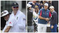 Kevin Pietersen and Andrew Strauss appear to bury the hatchet during celebrity golf event