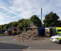Overturned lorry causes delays in Dudley