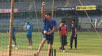 Arjun Tendulkar bowls to Team India at the nets