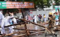 Police lathi-charge protesting BJP workers outside Vidhan Bhawan
