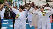 Puducherry Lt Guv Kiran Bedi leads Yoga Day event; CM and Ministers stay away