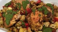 Spiced roast chicken thighs with watercress salsa verde