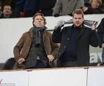 James Corden gleefully gloats in front of pal John Bishop after watching his club defeat Scouse comedian's beloved Liverpool FC