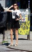 Alexa Chung shows off her long legs in thigh-skimming mini-skirt as she runs errands in New York City