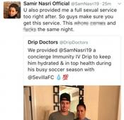 Samir Nasri apologises for explicit tweets about medical clinic, says his account was hacked