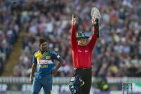 Umpire Oxenford Wears Forearm Shield During SL-England ODI