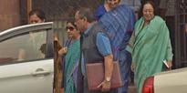 Smriti Irani and Najma Heptulla coming out of Prime Minister's office after Cabinet meeting