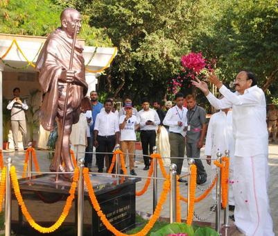 VP Naidu unveils Rs 8.73 lakh Gandhi statue at Rajghat