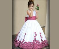 Plain Cotton Silk Gown in White N Purple For Kids