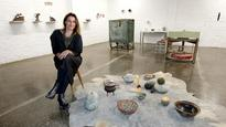 Seraphine Pick, Laurie Steer and the public create pottery at The Young gallery