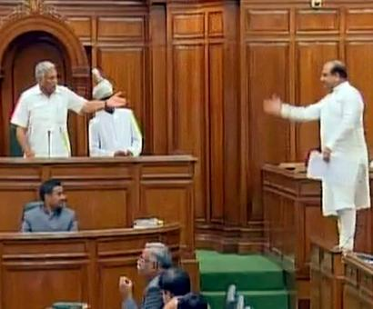 Not allowed to speak, BJP MLA stands on Delhi assembly bench