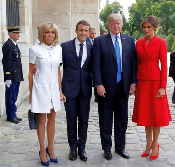 'You're in such good shape!' Trump tells French First Lady