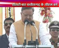 Raman Singh takes oath as Chhattisgarh CM for third time in a row