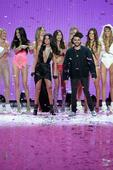 (Front Row L-R) Singer Selena Gomez, and Singer The Weeknd walk the runway during the 2015 Victoria's Secret Fashion Show at Lexington Avenue Armory on November 10, 2015 in New York City.