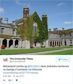 Why has the Irish language been removed as a requirement for NUIG's President?