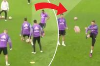 Cristiano Ronaldo scolds teammates and boots ball at reporter after being nutmegged